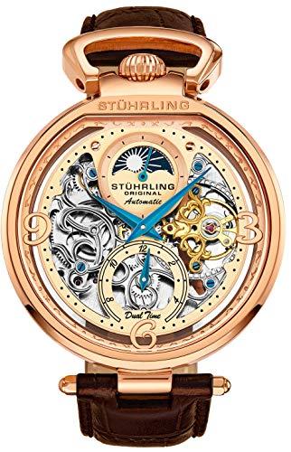 Stührling Original Herren Skelett-Armbanduhr in Roségold - Silbernes Zifferblatt mit goldfarbenen und blauen Akzenten - braunes Lederband mit Faltschließe - AM/PM Sun Moon Indicator, Dual Time, Herre (Stuhrling Herren Skelett)
