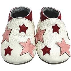 mejale Premium suave piel unidad lernschuhe patucos-Zapatos para bebé tipo mocasín negro estrellas rosa Talla:12-18 Monate/5.5 zoll