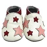 Mejale Chaussons Cuir Souple Chaussures Cuir Souple Chaussons enfants pantoufles Chaussures Premiers Pas dessin animé étoile(0-6 mois/4.7 pouce)