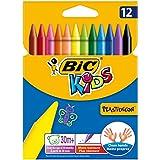 BIC Kids Wachsmalkreide Plastidecor, rund, Etui 12 Stück, 12-farbig sortiert
