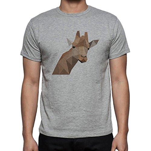 Giraffe Head Neck Brown Black Eyes Herren T-Shirt Grau