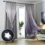 Hughapy 1-Piece Gradient Tulle Overlay Hollow-Out Stars Curtain Star Cut Out Blackout Curtains for Bedroom Double-Layer Blac