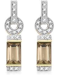 Carissima 9 Karat Gelbgold  0.15 Karat Diamant u. Rauchquarz Ohrhänger  - 1.58.219G