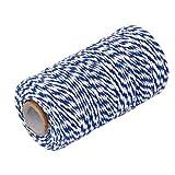 WINOMO 100m Baumwolle Bäcker Schnur String Schnur Glas Flasche Geschenk Box Decor Craft (Navy-blau + weiß)