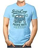Prilano Herren Fun T-Shirt - Surfing-Camp-Bulli - XXL - Hellblau