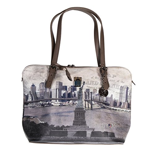 Y NOT? - Borsa shopper donna clip manici shopping medium g-377 new york liberty island