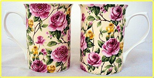 Garden Roses Becher Set von vier Fine Bone China Becher Roses Set 4Tassen, Hand-dekoriert in Großbritannien Rose Garden Bone China