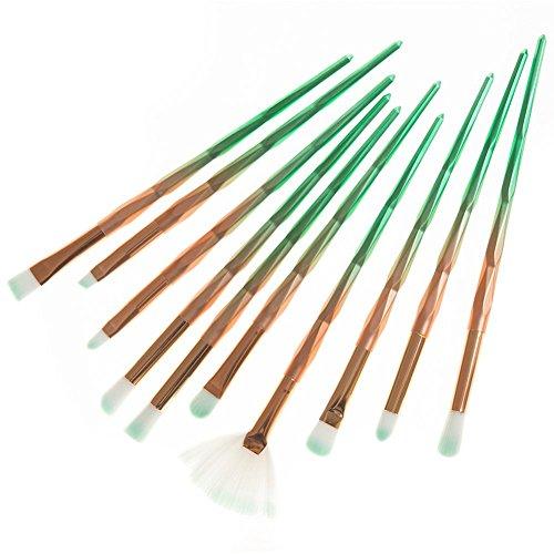 Gespout 10PCS Pinceau de Maquillage Professionnel pour Yeux Vert Nylon Poignée en Plastique Fond de Teint Poudre Blush Différents Styles