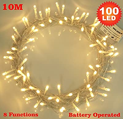 100 Warm White LED Fairy Lights Battery Operated 8 Functions
