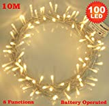 Fairy Lights 100 Warm White Christmas Tree Lights Indoor LED String Lights - Battery Operated - 8 Functions 10m/33ft Lit Length with 1m Lead Wire - Ideal for Christmas Tree, Festive, Wedding/Birthday Party Decorations (100 LED 10m Clear Cable)