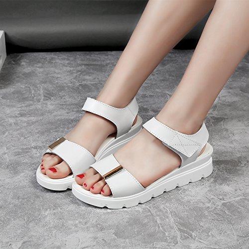 Xing Lin Sandali Da Donna Estate Nuove Ragazze 11 Junior High School Gli Studenti Di 15-Anno-Vecchia Ragazza Principessa Casual Flat Sandali 13,37, Bianco