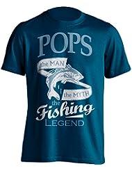 """Pops Pesca Camiseta """"Pops, El Man, The Myth, de la leyenda"""" Pesca De Pesca Camiseta–idea de regalo para Dad en su cumpleaños, Regalo de Navidad o día del padre., azul marino"""