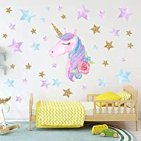 Colorful Unicorn Wall Decals for Kids Room Vinyl Peel and Stick Wall Stickers Nursery Baby Room Decoration Wall Stickers Pvc Car Stickers Laptop or Refrigerator Sticker Poster Wallpaper Home Decor