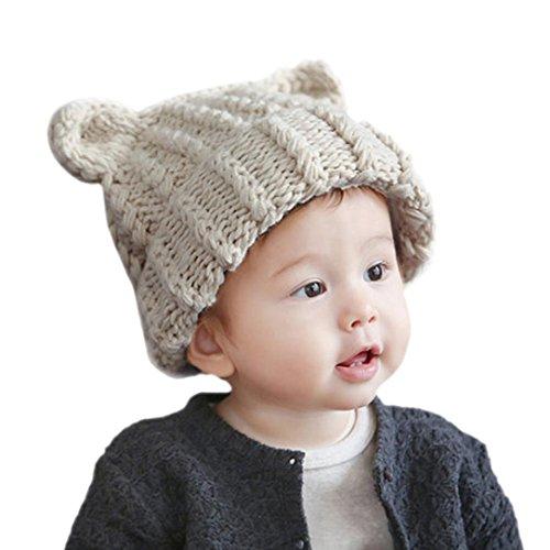 Babybekleidung Hüte & Mützen Longra Niedliche Baby Kleinkind Kind Elastizität Katze Ohren Muster stricken Mütze Cap Hüte(6 Monate-3 Jahre ) (Mütze Kleinkind Im Kostüm Katze Hut)