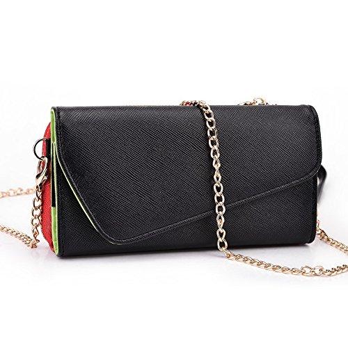 Kroo d'embrayage portefeuille avec dragonne et sangle bandoulière pour Samsung Galaxy A3 Green and Pink Noir/rouge