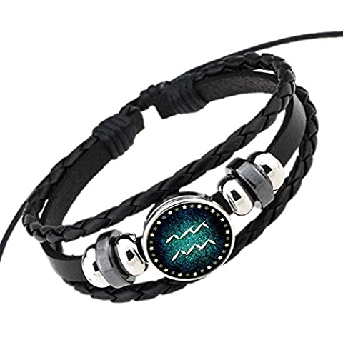 DELEY Retro 12 Constellation Hand Woven Leather Braided Punk Chain