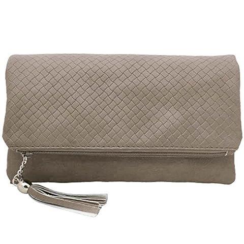 BMC Womens Dark Beige Textured PU Faux Leather Quilted Pattern Triple Compartment Zipper Tassel Fashion Clutch Handbag