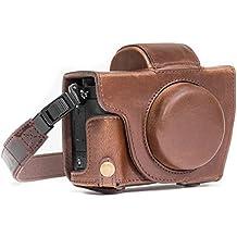 MegaGear Canon PowerShot G5X Ever Ready piel Case de Cámara con Correa y batería Color Marrón Oscuro de acceso mg1067