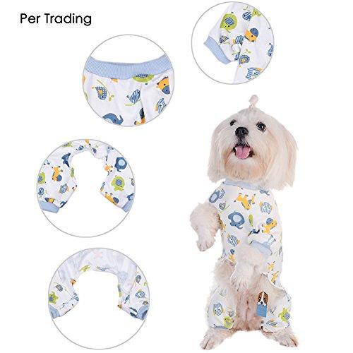 Per Hunde/Katze Pyjamas mit Niedlich Tierisches Muster und Four Feet Design, Weich Alle Jahreszeiten Haustier Schlafanzug Jacken für Kleine und Mittelgroße Hunde - Blau,XS/S/M/L/XL