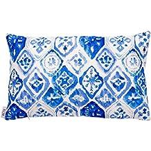 B&H Cojín con Diseño Geometrico Azul, Algodón,, ...