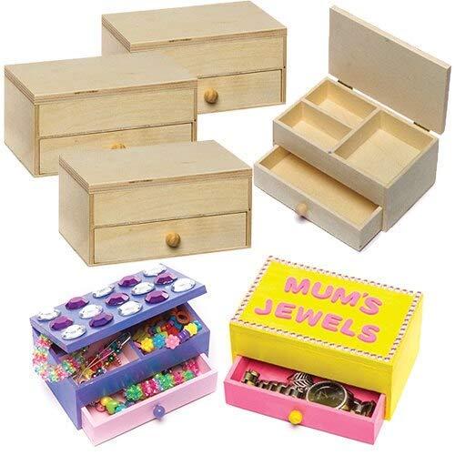 Baker Ross Schmuckkästchen aus Holz für Kinder zum Dekorieren und Gestalten (2 Stück)