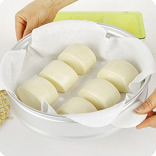Uctop Store Fil 10 pcs 31,8 x 31,8 cm Tissu respirant Bamboo Steamer cuits à la vapeur Riz dumplings avec filtre de gaze tiroir Tissu cuiseur vapeur anti-adhésif