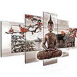 Bilder Buddha Feng Shui Wandbild 200 x 100 cm Vlies - Leinwand Bild XXL Format Wandbilder Wohnzimmer Wohnung Deko Kunstdrucke Beige 5 Teilig -100% MADE IN GERMANY - Fertig zum Aufhängen 503251c