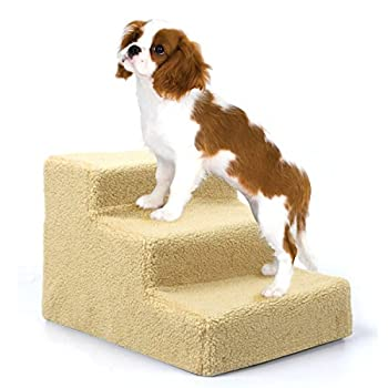 Amzdeal Escalier animal Marches pour chien chat PetStair - 3 marches - 45×35×30cm - Beige