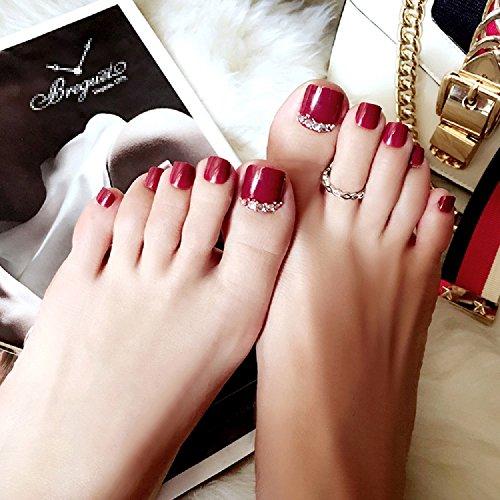Mimei 24 pezzi unghie finte piedi rosse con pozzo simbolo, unghie finte piedi colorate con linguette adesive per donna/ragazza