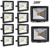 Leetop 10X Top-Qualität 20W LED Lampe Fluter Scheinwerfer IP65 Kaltweiss Schwarz Aluminium Flutlicht Wasserdicht Strahler
