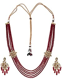 8a7633148f Rubans Gold Toned Kundan Ruby Beads Haara Necklace Set for Women