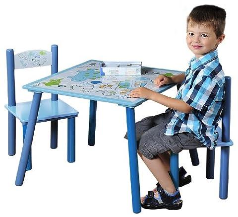 Kesper 17721 1 Kindertisch mit 2 Stühlen, Motiv: Dino, MDF
