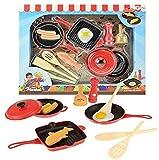 ToiToys Juego Infantil Vajilla de Juguete 3 Sartenes de Juguete y Alimentos de Juguete Complementos Cocina de Juguete