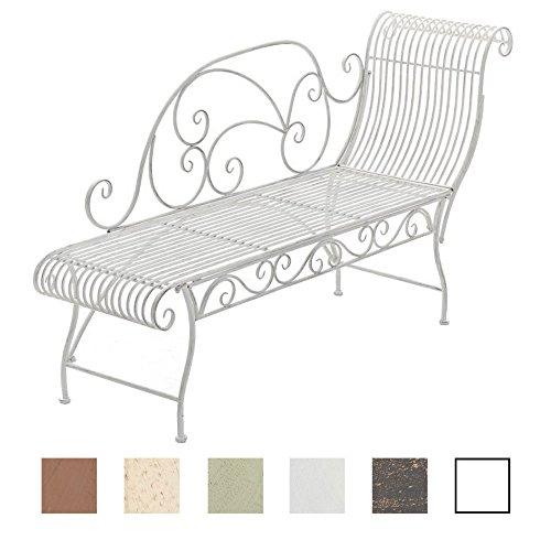CLP Eisen-Gartenbank KARMA, Recamiere links, Landhausstil, 156 x 46 cm (aus bis zu 5 Farben wählen) antik weiß