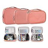 Bolsa para Accesorios Electrónicos Universal, 3 Piezas Universal Organizador Portable Bolsa Impermeabile para Disco Duro Cables Cargador,Gadget de Memoria USB Bolsillo y iPad, rosado