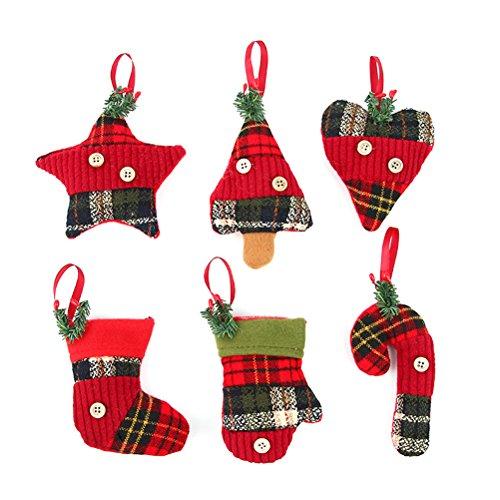 Tinksky ornamento d'attaccatura per decorazioni di albero di natale per decorazione natalizia regalo di compleanno di natale per i bambini 6 pezzi
