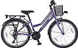 24 Zoll Kinder Mädchen City Fahrrad Kinderfahrrad Cityfahrrad Mädchenfahrrad Bike Rad 21 Gang Fantasia LILA TYT19-045