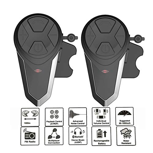 Lvreby Motorrad Helm Intercom, 1000M Wireless Helm Bluetooth-Headset wasserdicht BT Interphone Intercomunicador Moto FM,2pcs Fm Wireless Intercom