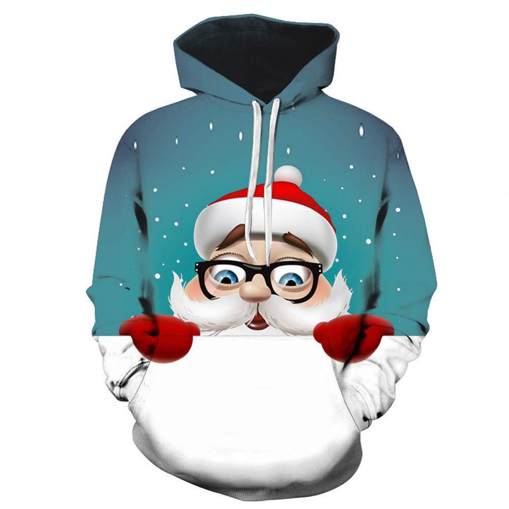 Femme Noël Imprimer Pull Tops à capuche à Manches Longues Pull de Noël Sweat