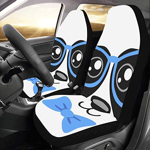 Brille Panda Big Black Benutzerdefinierte Neue Universal Fit Auto Drive Autositzbezüge Schutz Für Frauen Automobil Jeep LKW SUV Fahrzeug Full Set Zubehör Für Erwachsene Baby (Set Von 2 Vorne)