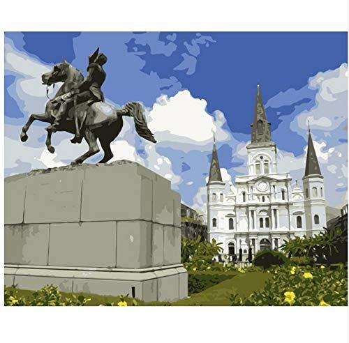 St Louis Statue (LIWEIXKY Rahmenloses Ölgemälde Jackson Square Und Statue St. Louis Cathedral DIY Färbung Durch Zahlen Wanddekoration Malerei 40X60Cm)