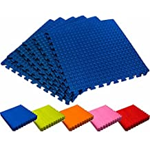 Set di 6 tappetini ad incastro / tappetini puzzle ideale come rivestimento per palestre/officine/ufficio e come tappeto da gioco – dimensioni: 60 x 60 x 1,2 cm (ca. 2,2m²) / adatte per tutti i tipi di allenamento, fitness, ginnastica, yoga, aerobica, pilates, superficie da gioco per bambini