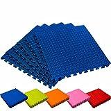 Schutzmatten Set von #DoYourFitness – 6x Puzzle Unterlegmatten für sicheren Bodenschutz für Sportgeräte, Gymnastikräume, Keller - Matten Schutz vor Kratzern, Stößen, Dellen, Kälte, Lärm, Flüssigkeit ! 6x Steckelemente á 60 x 60 x 1,2 cm (ca. 2,2m²) / In verschiedenen Farben erhältlich / Blau