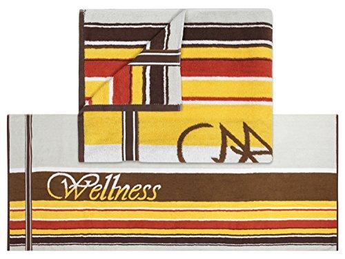 Dyckhoff Doppelpack - Sauna- und Wellnesstuch unterschiedliche Dessins und Farbkombinationen - gewebte Motive - ca. 80 x 200 cm, Wellness Bronze - Bronze Badetuch