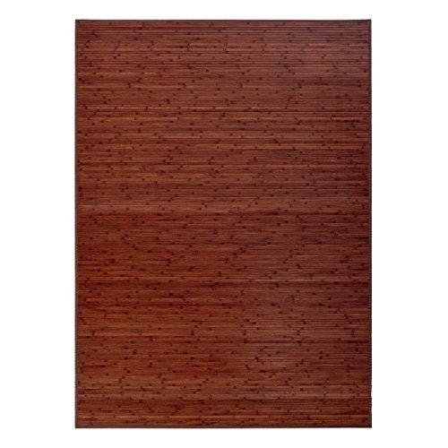Alfombra de salón o comedor industrial marrón de bambú de 180 x 250