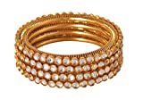 YouBella Fashion Jewellery Traditional Gold Plated Kundan Bracelet Bangles Set of 2 For Girls and Women (2.4)
