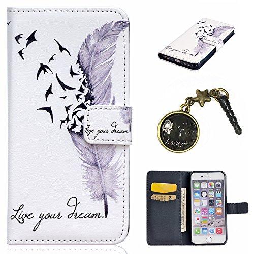 PU Cuir Coque Strass Case Etui Coque étui de portefeuille protection Coque Case Cas Cuir Swag Pour Apple iPhone 6S Plus (5.5 pouces)+Bouchons de poussière (O11) 11