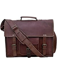 SR 18 Inch Real Leather Brown Office Briefcase Cum Laptop Messenger Shoulder Bag