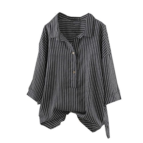 Meibax camicia da donna con bottoni/maglietta donna tumblr/pullover top a strisce/bluse e camicie donna taglie forti/tunica camicetta top/camicia donna lunghe/t-shirt donna cotone