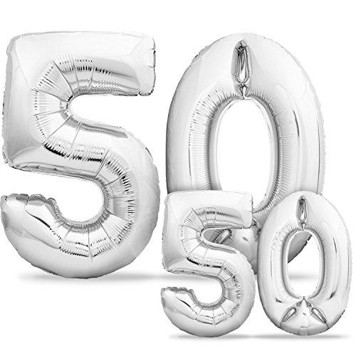 Luftballons 50. Geburtstag XXL Silber - Riesen Folienballon in 2 Größen 40